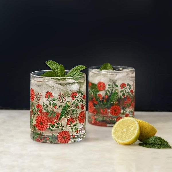 Floral Fiesta set of 4 glasses - 400ml Glass + Bar Ware Default Title Nel Lusso
