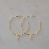 Sophie Sparkle Cross Gold Hoops Clear