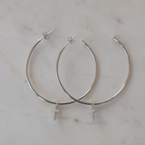 Sophie Sparkle Cross Silver Hoops Clear