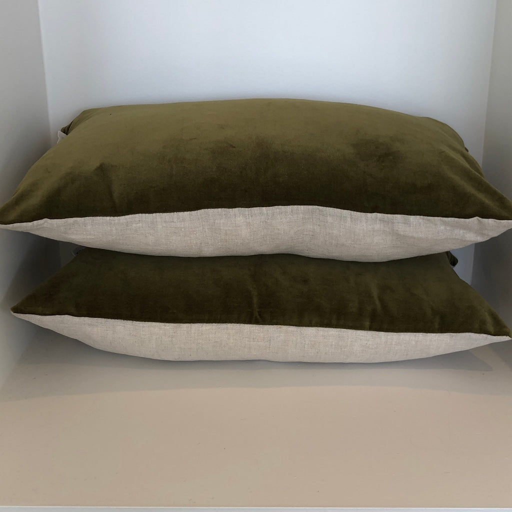 Khaki Velvet Cushion Cover