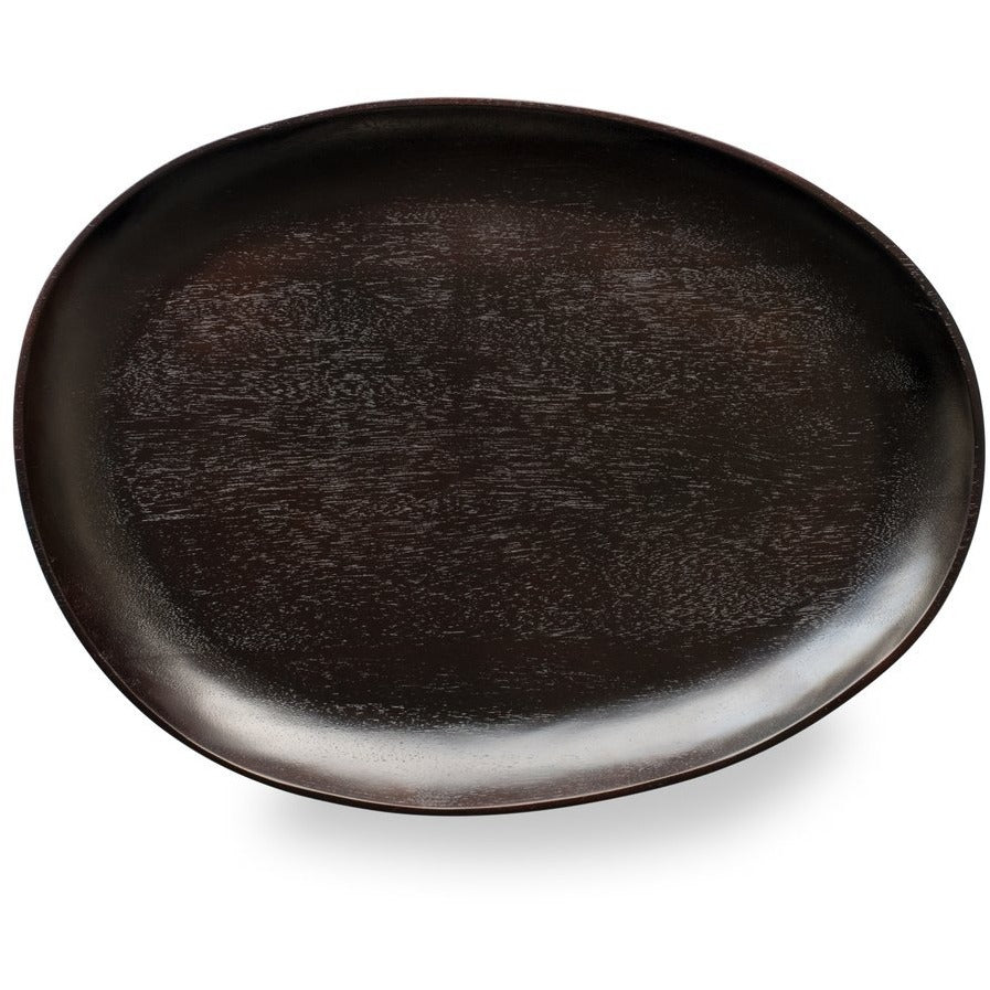 Black Acacia Wood Oval Serving Tray Large