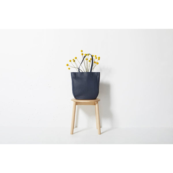 Status Anxiety Appointed Leather Tote Bag Navy Blue