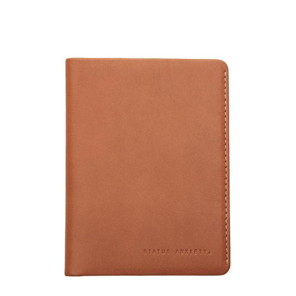 Status Anxiety Leather Passport Wallet Conquest Camel