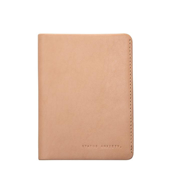 Status Anxiety Leather Passport Wallet Conquest Tan