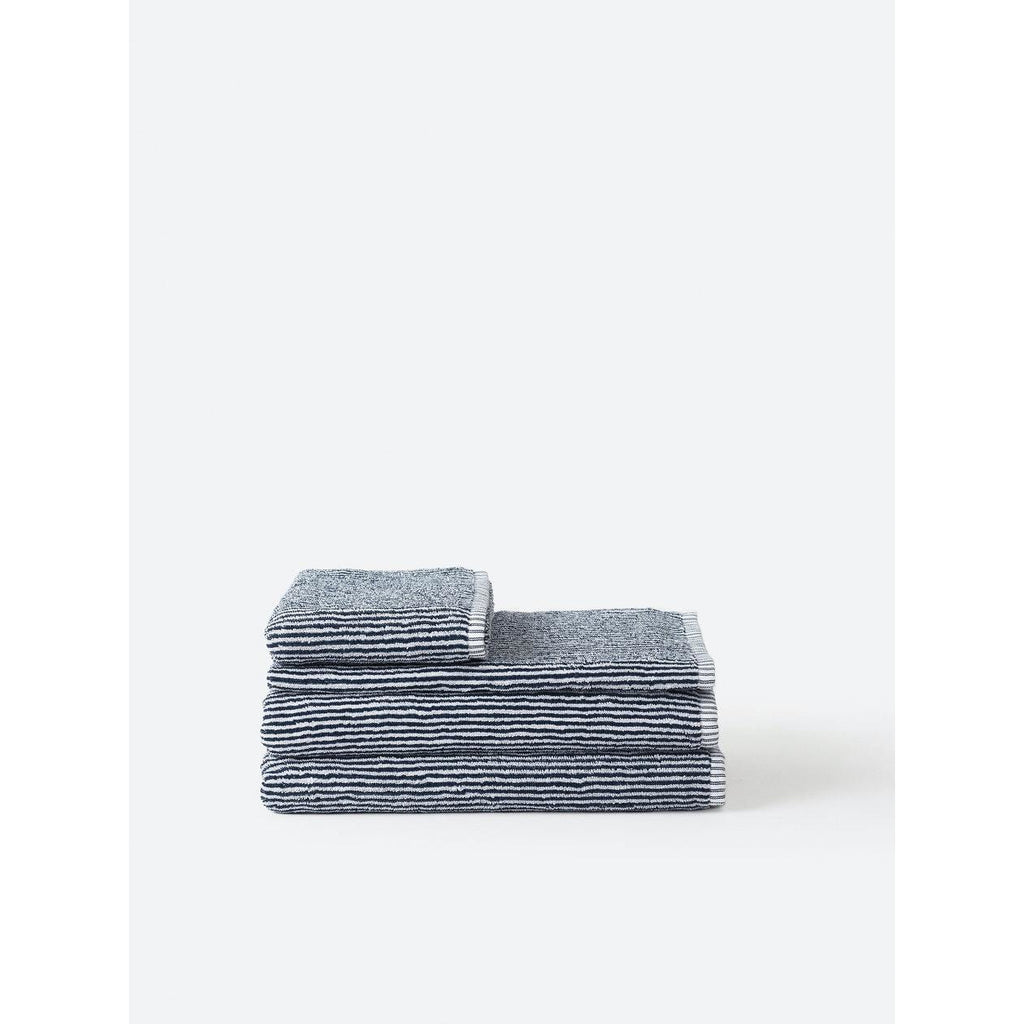Stripe Organic Bath Towel Range - Navy/White Towels + Cloths Bath Towel,Hand Towel,Face Cloth Citta