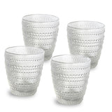 Nel Lusso Oslo Glass Tumbler Set of 4, Textured Glass Tumbler, Glass Tumbler