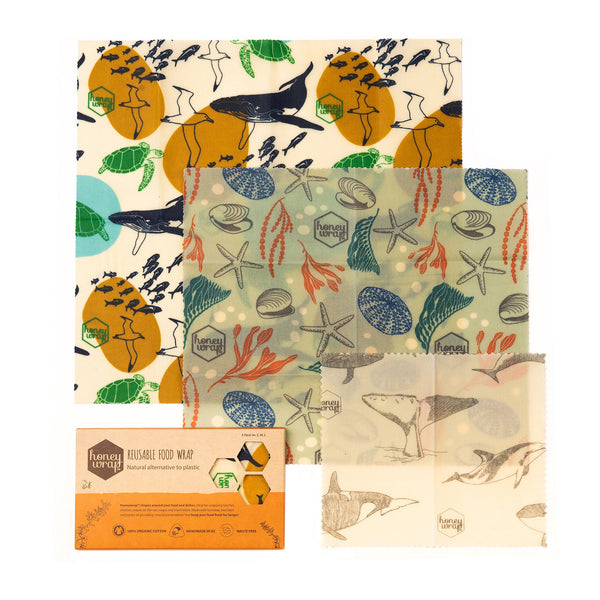 Honeywrap, Organic Cotton Honeywrap, Honeywrap Oceans in Need Three Pack