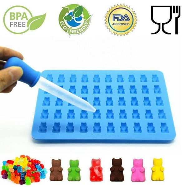 50 Cavity Silicone Gummy Bear Shape Mold-ChowStuffs