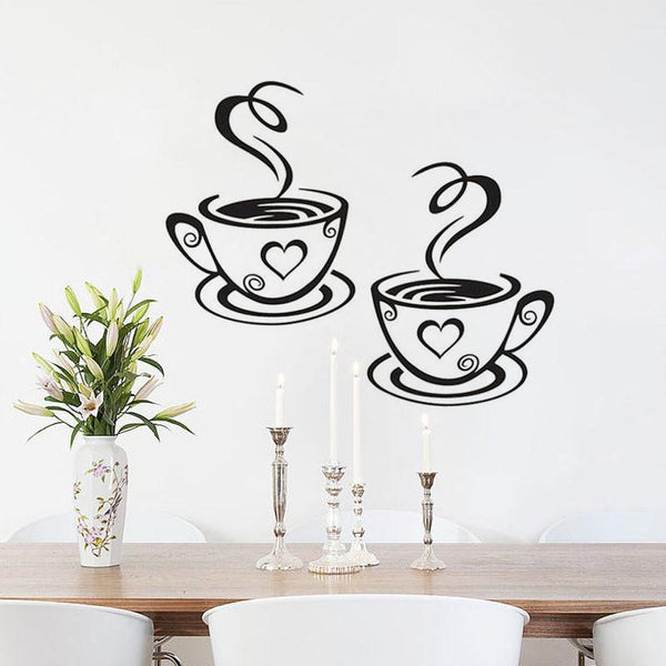 Coffee Cups Vinyl Wall Art-ChowStuffs