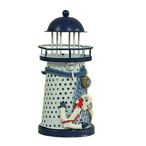 Mediterranean Wrought Iron Light House Candle Holder-Anchors Away-ChowStuffs
