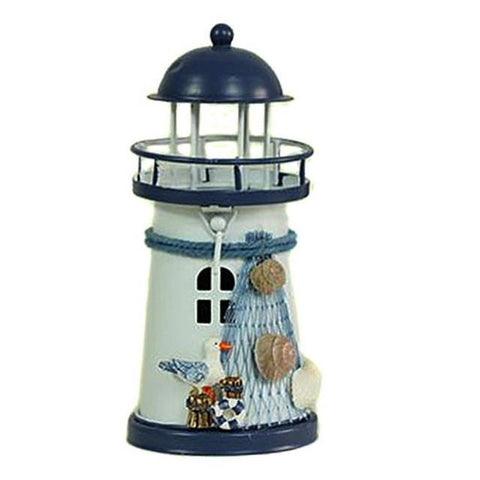 Mediterranean Wrought Iron Light House Candle Holder-Seagull-ChowStuffs