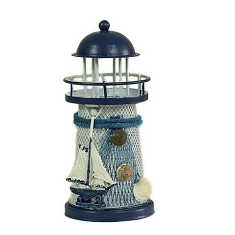 Mediterranean Wrought Iron Light House Candle Holder-Ship Shape-ChowStuffs