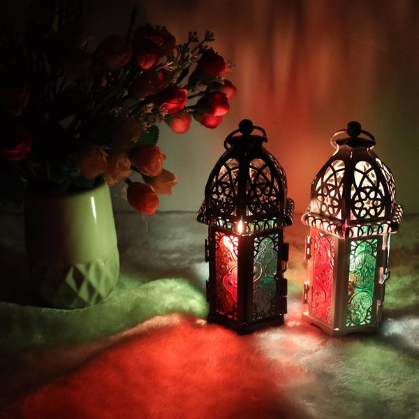 Moroccan Style Iron & Glass Tealight Holder-ChowStuffs