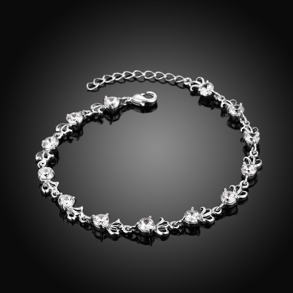 image zircon flower crystal cubic bracelet product leaf silver b products for bridesmaids plated