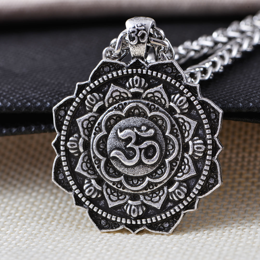 products om spiritual silver lotus pendant necklace buddha mandala antique