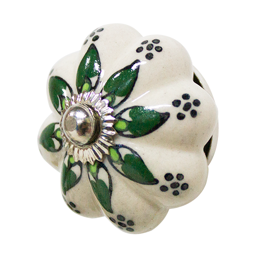 Hand Painted Ceramic Cabinet Knob - Flower