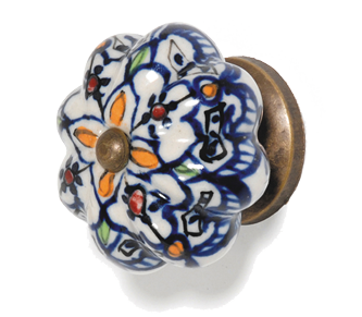 Hand Painted Ceramic Door Knob - Moroccan