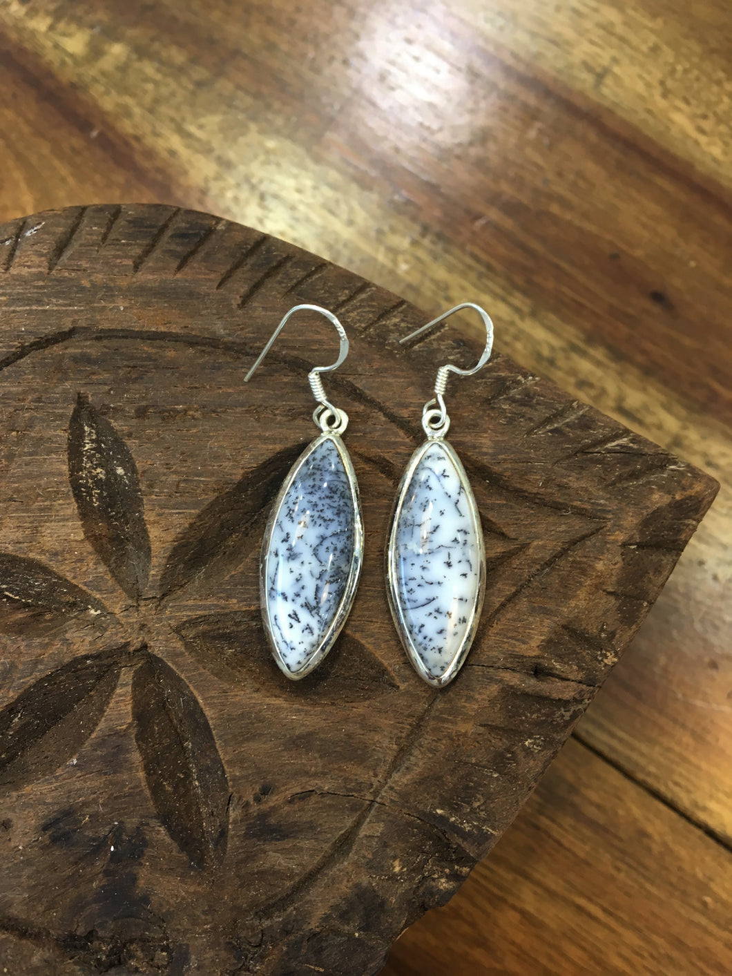 Dendritic Opal - Drop earrings