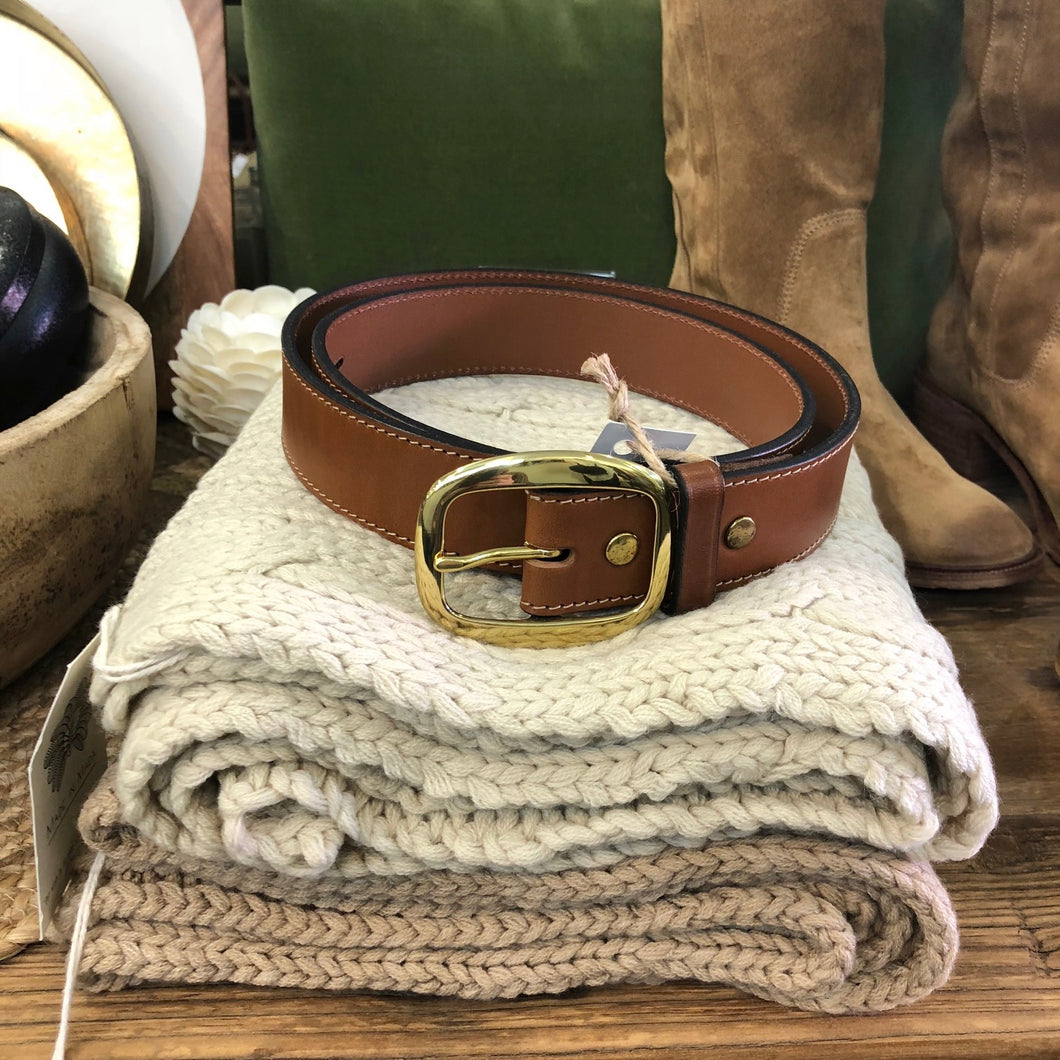 Tan Leather Belt with Gold Buckle