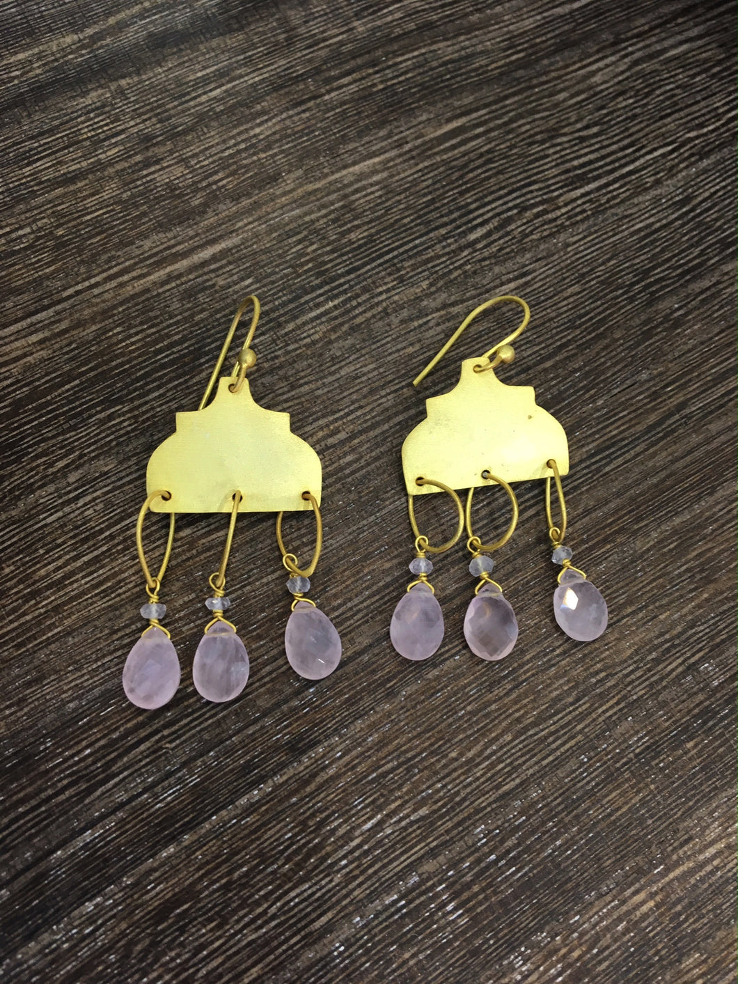 Rose Quartz Chalcedony Drop Earrings in Gold