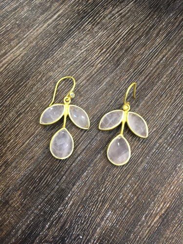 Rose Quartz Leaf Earrings in Gold