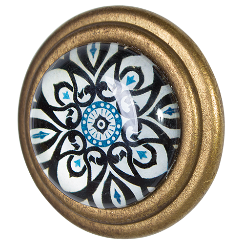 Metal Door Knob with Glass Inset - Trev