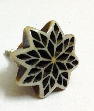 Bone Resin Door Knob - Flower