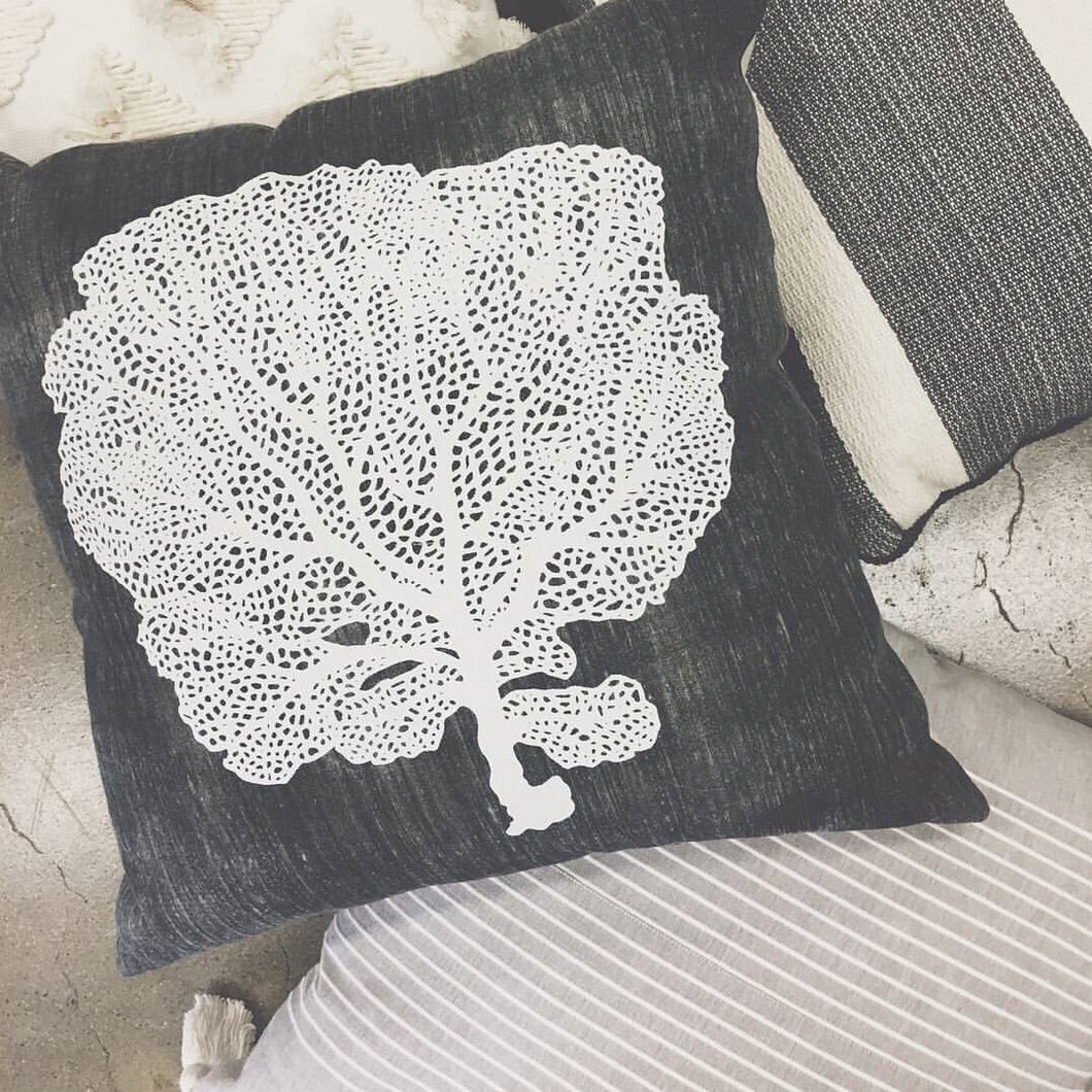 Sea Fan Charcoal Coral Cushion