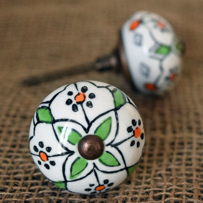 Ceramic Door Knob - Green Flower