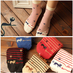High Quality Striped Cat Footprints Cotton Socks-5 Colors