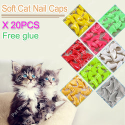 20pcs / bag Soft Cat Nail Caps with free Adhesive Glue