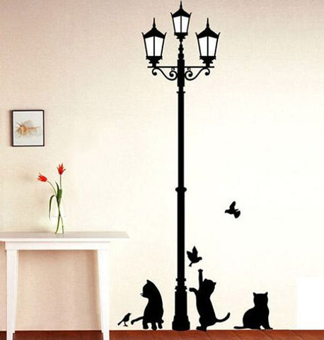 Free Shipping-Lamp Post w/Cats and Birds Wall Sticker Mural