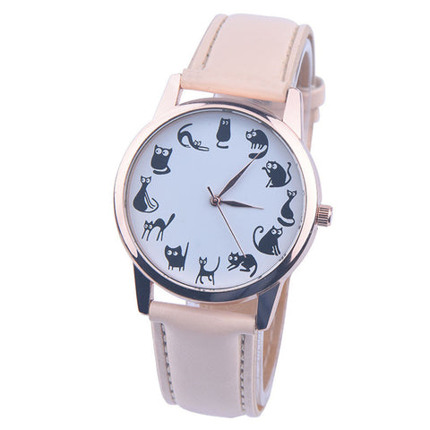 Cat Pattern Leather Band Quartz Watch