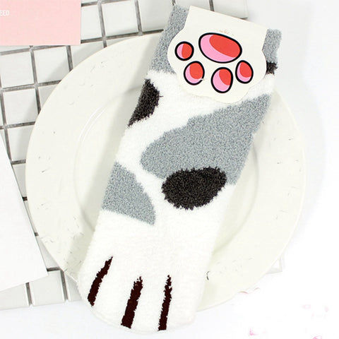 Cozy Fleece Cat Paw Socks