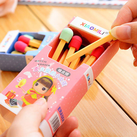 Adorable Box Set with 8 Matchstick Erasers