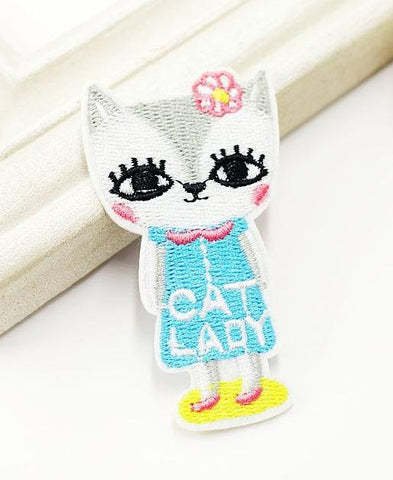 CAT LADY Iron on Patch