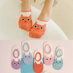 5 Pair Cat No-Show Socks