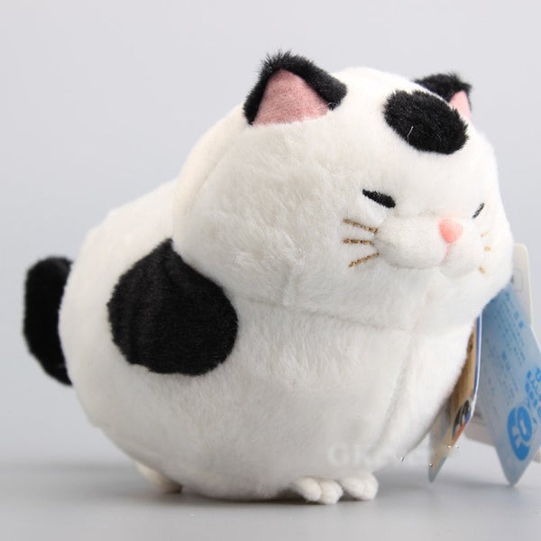 Lucky Japanese Plush White Cat with Black Spots