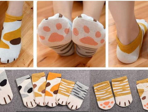 5 Pair Cat Paw Ankle Socks