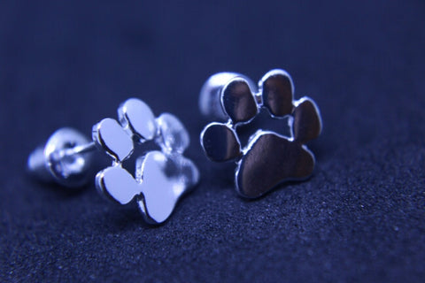 Silver Plated Dog Paw Earrings