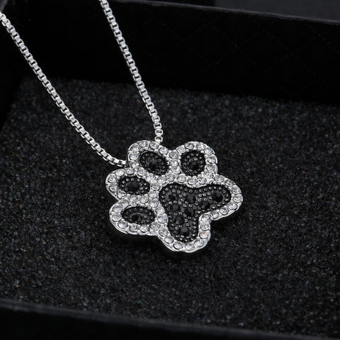 Sliver Plated Black and White Crystal Dog Paw Necklace