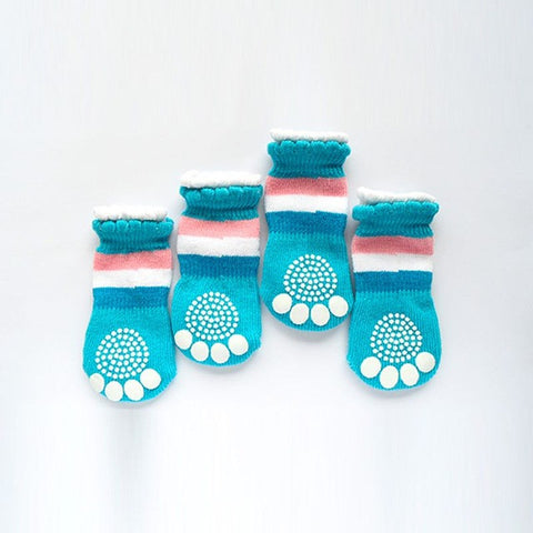Cute Blue 3 Striped Colour Dog Paw Anti Slip Socks