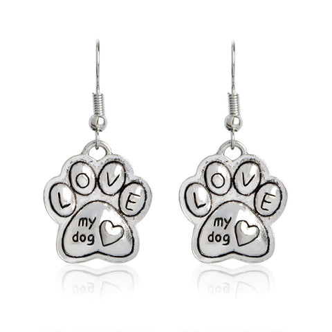 Love My Dog Paw Print Earrings
