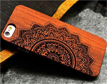 3S Deals Phone Case 1/2 Flower / iPhone 7 Wooden Hand Carved Phone Cover