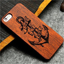 3S Deals Phone Case Anchor / iPhone 7 Wooden Hand Carved Phone Cover