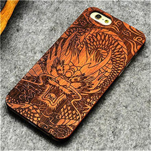 3S Deals Phone Case Dragon / iPhone 7 Wooden Hand Carved Phone Cover