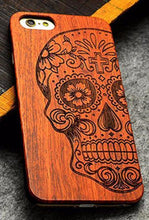 3S Deals Phone Case Skull / iPhone 7 Wooden Hand Carved Phone Cover
