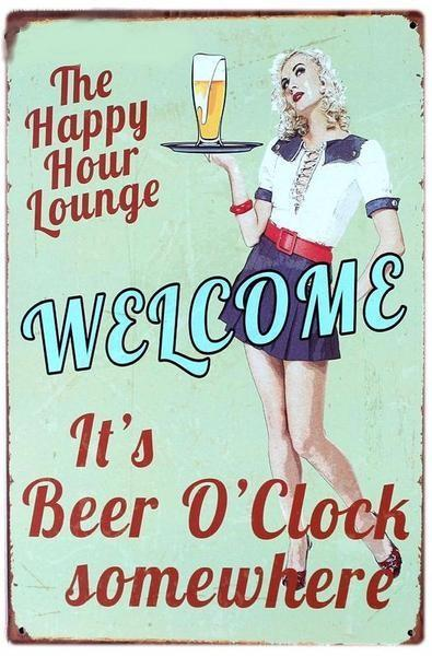 3S Deals Plaques & Signs Happy Hour Lounge Vintage Beer Signs