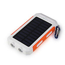 3S Deals Power Bank White Orange Universal Waterproof Dual-USB Solar Power Bank - 10000mah