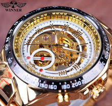 3S Deals White Golden Winner Sport Design Bezel Golden Watch